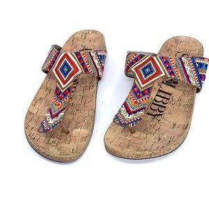 Sam & Libby Cork Aztec Strap Thong Sandal 7
